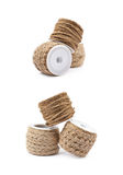 Pile of rope bobbins isolated Royalty Free Stock Images