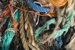 Pile of rope and fishing nets Royalty Free Stock Photography