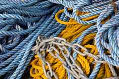 Pile of ropes. Pile of color ship cordage and chain Royalty Free Stock Image