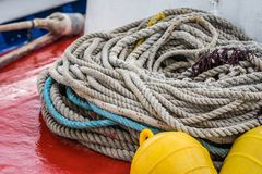 Pile of ropes on boat deck. Large pile of thick ropes on fisherman boat deck, Zante Island, Greece stock photography