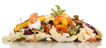 Pile of rotting food waste is isolated on  white background. A pile of rotting food waste is isolated on a white background Royalty Free Stock Image
