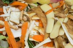 Rotting kitchen fruits and vegetable waste for compost royalty free stock photo