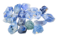 A pile of rough uncut light blue sapphires Royalty Free Stock Photography