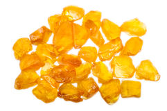 A pile of rough uncut yellow sapphires Stock Photos