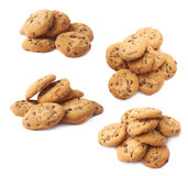 Pile of round cookies isolated Royalty Free Stock Images