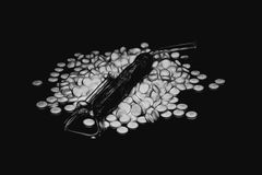 Heap of white pills. Pile of round tablets on a black background. Illustration Stock Image