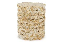 Pile of Round wheat crispbread isolated on white background Stock Photography