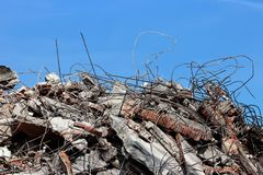 Rubble building demolition site. Pile of rubble from a dismantled building at a demolition site Stock Photo
