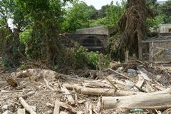 Pile of rubble at the zoo after the flood Royalty Free Stock Image