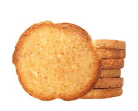 Pile rusks with wholewheat flour, bread sliced isolated, whole wheat dry rusk bread Royalty Free Stock Photography