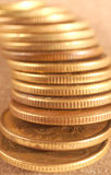 Pile of Russian Coins. A close up of Russian 50 Kupik coins Royalty Free Stock Photo