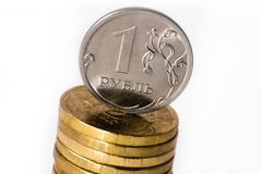Russian coins, russian ruble Stock Photo