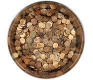 Pile Russian copper coins in a round tin box Stock Image