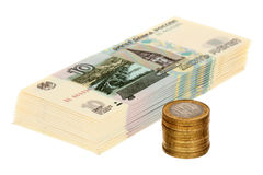 Pile of russian money Stock Images