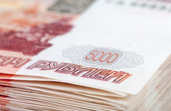 Pile of russian rubles bills closeup Stock Images