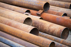 Pile of rusted industrial steel pipes Stock Photo