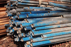 Pile of rusting scaffolding pipes Royalty Free Stock Photo