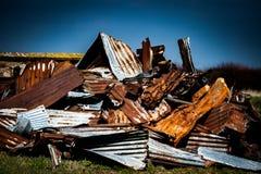 Pile of rusty corrugated iron Stock Images