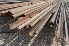 Pile of rusty metal pipes Stock Images