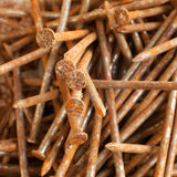 Pile of rusty nails. Closeup of pile of old and rusty nails Stock Photography