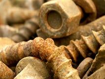 Pile of rusty screws royalty free stock photo