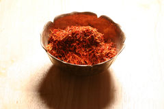 Pile of saffron. In a metal bowl Stock Photography
