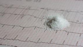 Pile of salt on EKG. Pile of salt on an EKG test result - Electrocardiogram Stock Photography