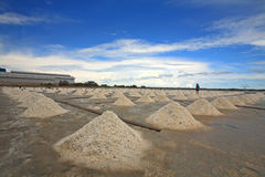 Pile of salt on farm against blue sky Stock Images