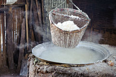 Pile of salt in the salt pan at rural area of Thailand Royalty Free Stock Photos