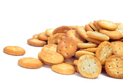 Salty round crackers Stock Photography