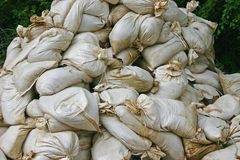 Pile of Sandbags Stock Photos