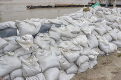 Pile of sandbags for flood defense Royalty Free Stock Photos