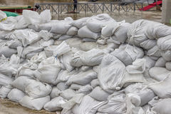 Pile of sandbags for flood defense 2 Stock Image
