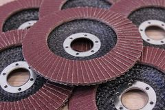 Pile of sandpaper discs , background. Pile of new sandpaper discs for electric tool, grinder, closeup Royalty Free Stock Photos