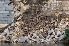 Collapse of Medieval Maastricht Wall royalty free stock photo