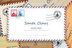 Pile of Santa Claus Christmas Mailing Address Letter Post Vector Illustration Stock Image