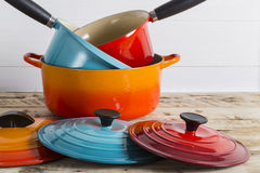 Pile of saucepans and pots Royalty Free Stock Photos