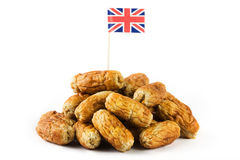 Pile of sausages with union jack Stock Photo