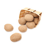 Pile of scattered potatoes isolated Stock Photography