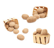 Pile of scattered potatoes isolated Stock Image