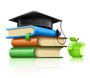 Pile of school books with professor cap and apple Stock Photos
