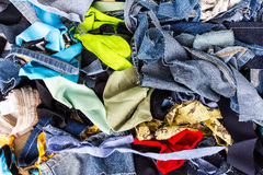 Pile of scrap fabrics Stock Photography