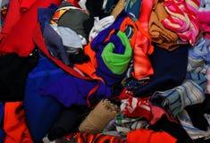 Pile of scrap fabrics Royalty Free Stock Photography