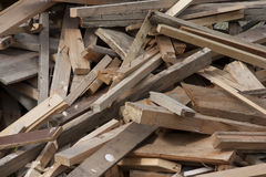 Pile of scrap lumber. From building sites Royalty Free Stock Photography