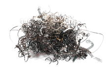 Pile scrap metal shavings isolated on white Royalty Free Stock Image