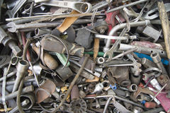 Pile of scrap metal on white background. A pile of scrap metal on white background stock images