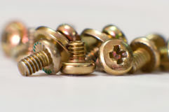 Pile of. Yellow metallic screws stock illustration