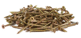 Pile of screws. On white background Stock Photos