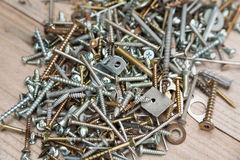 Pile of Screws and Nails Stock Photo