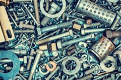 A pile of screws, nuts and washers Royalty Free Stock Image